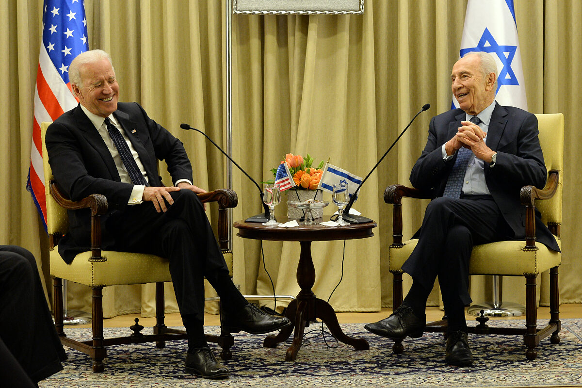 Then-Vice President Biden meets with then-Israeli President Shimon Peres in Jerusalem on January 13, 2014. (U.S. Embassy)