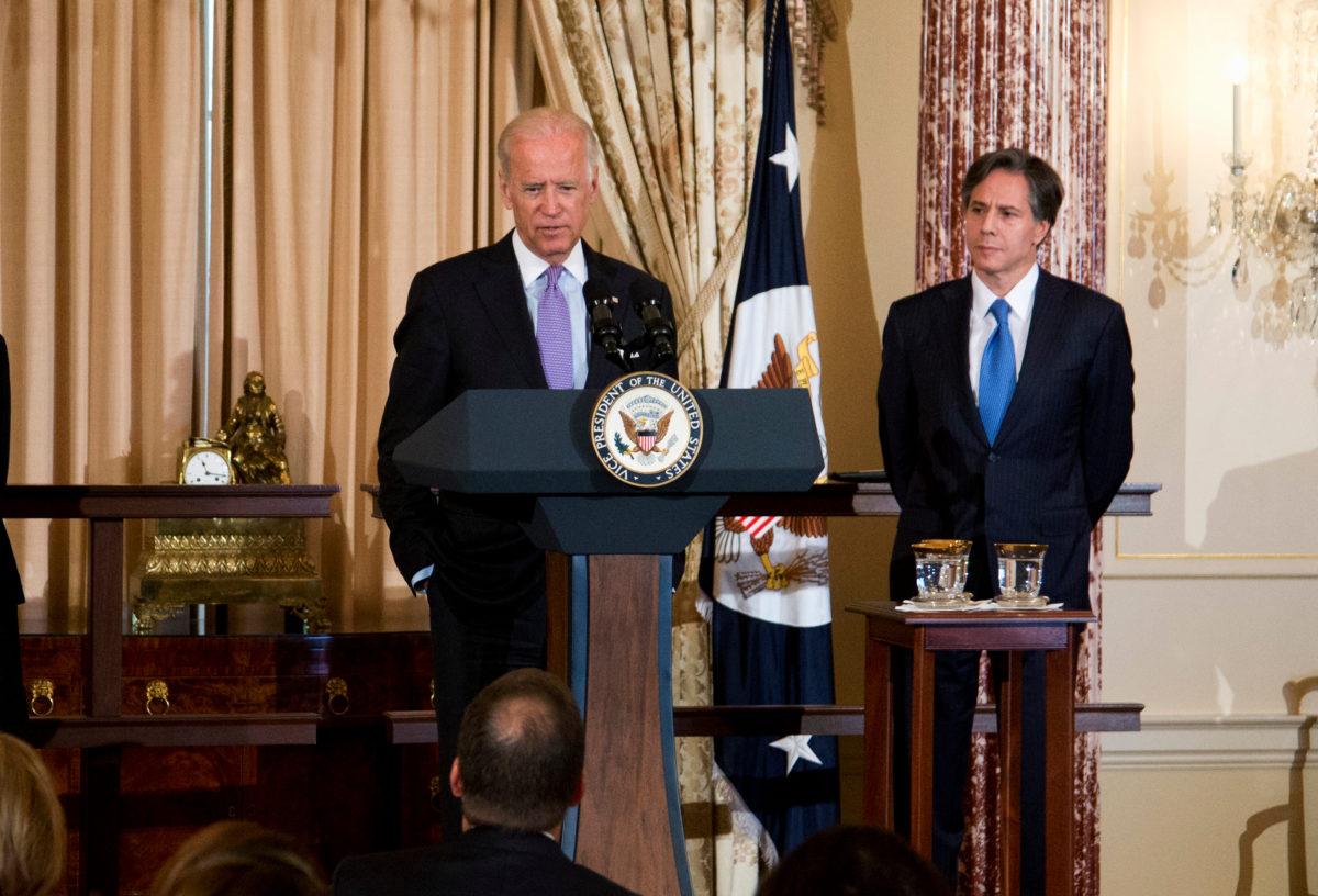 Vice President Joe Biden and Deputy Secretary of State Tony Blinken attend an event at the State Department on June 30, 2015. (Manuel Balce Ceneta/AP)