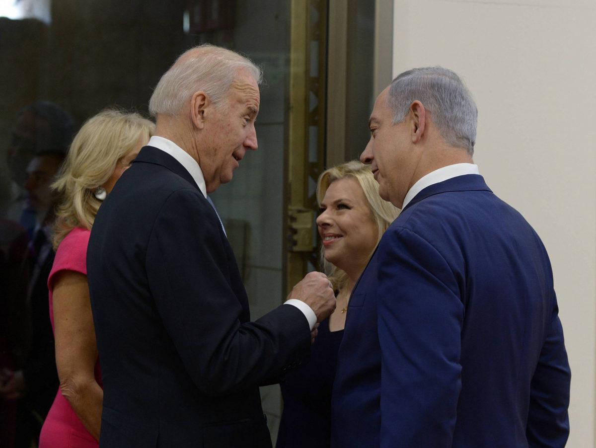 Israeli Prime Minister Benjamin Netanyahu and his wife, Sara, meet with U.S. Vice President Joe Biden and his wife, Jill, at the Prime Minister's Office in Jerusalem on March 9, 2016. (Amos Ben Gershom/GPO)