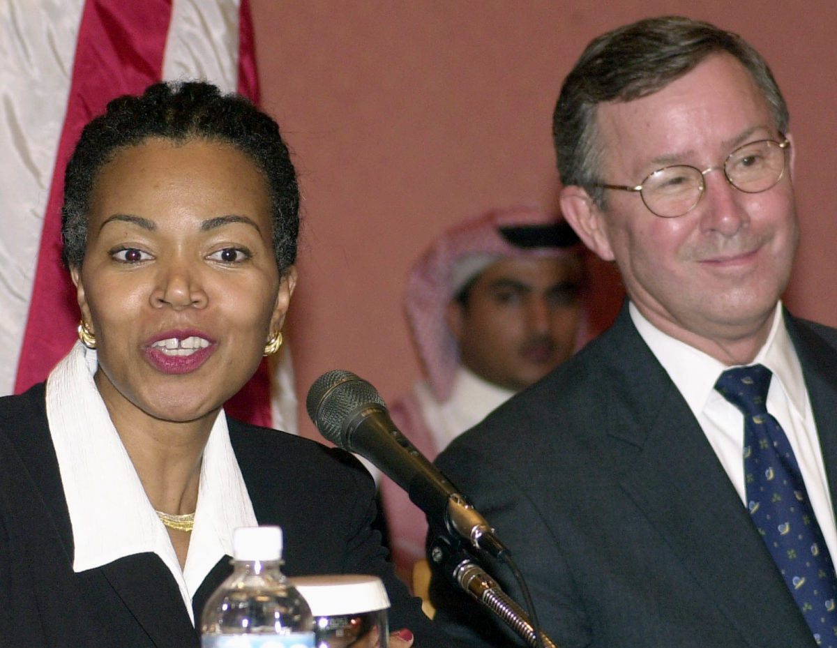 Then-U.S. Consul General in Jiddah, Saudi Arabia, Gina Abercrombie-Winstanley speaks to reporters during a press conference with the U.S. Ambassador to Saudi, James C. Oberwetter, right, Tuesday Dec. 8, 2004, following a terrorist attack the previous day. (Hasan Jamali/AP)