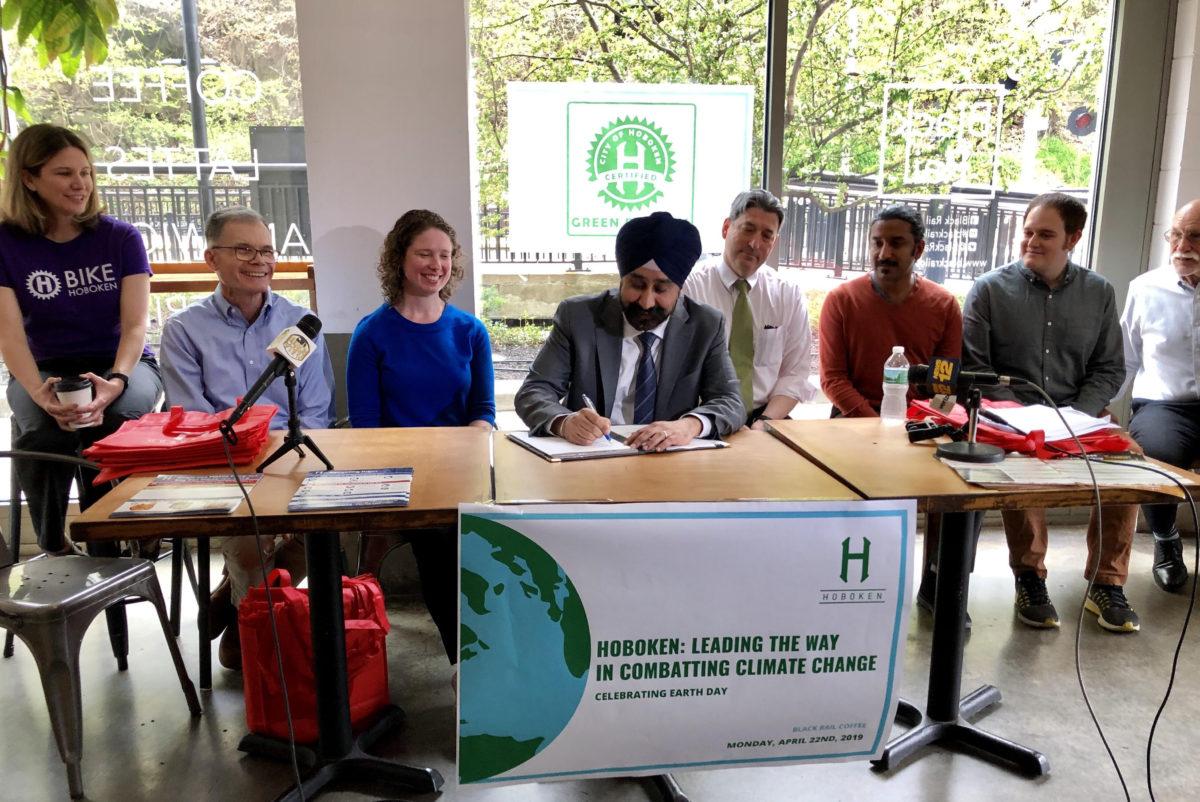 Hoboken Mayor Ravi Bhalla at an Earth Day event. (Courtesy)