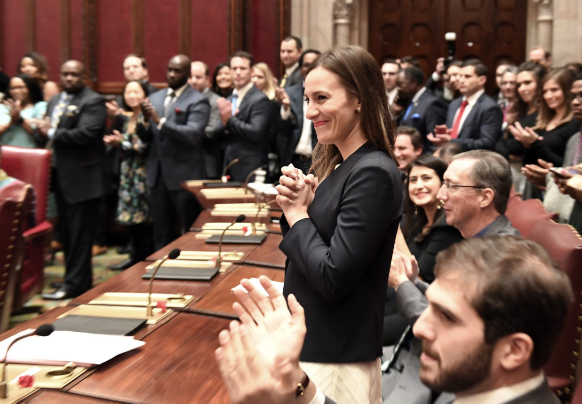 Sen. Alessandra Biaggi, D-Bronx, is introduced during opening day of the legislative session in Albany, N.Y. (Hans Pennink/AP)