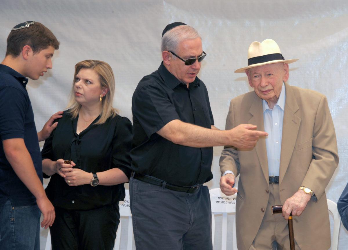 Avner, Sara, Benjamin and Benzion Netanyahu at Mount Herzl in Jerusalem in 2011. (GPO)