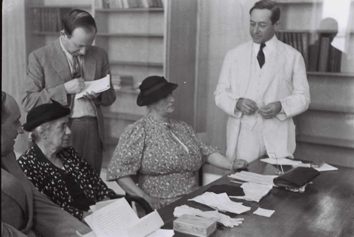 Henrietta Szold (second from left) attends a meeting in Jerusalem in May 1939 after the opening of the Hadassah Medical Center in Mount Scopus. (Zoltan Kluger/GPO)