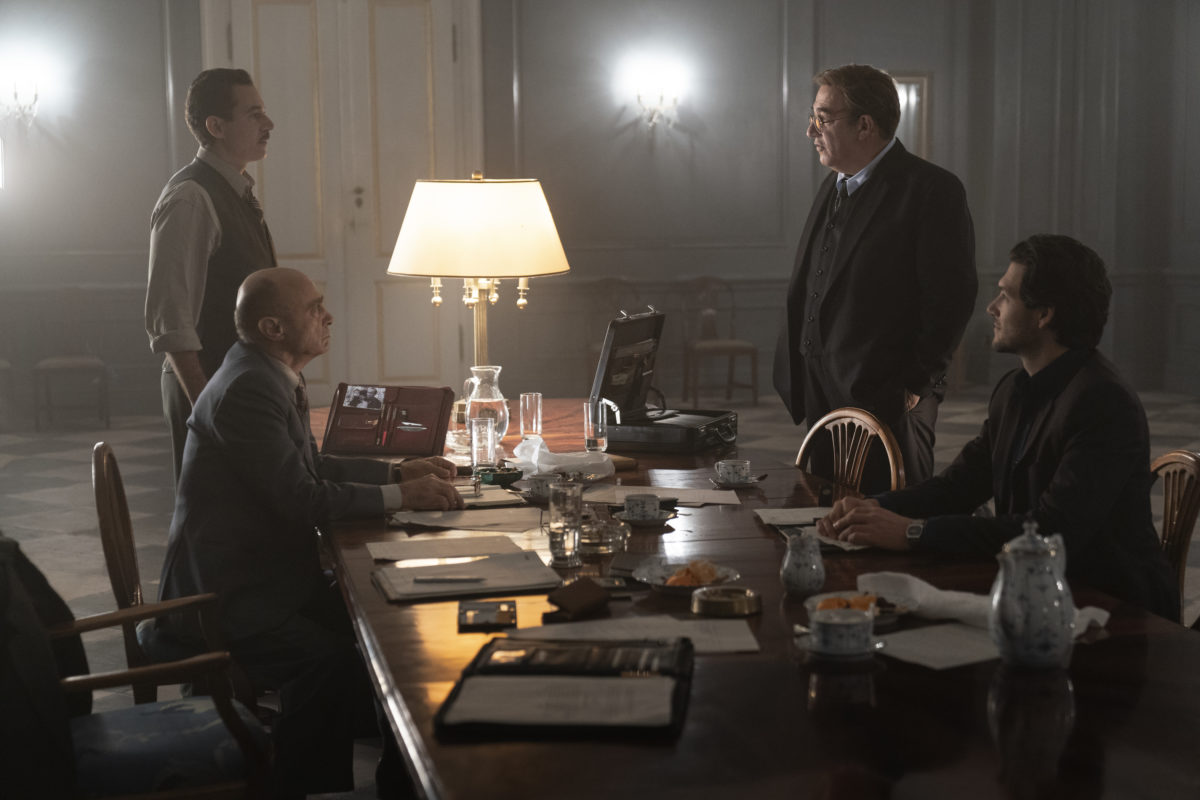 "Salim Daw, Waleed Zuaiter, Igal Naor and Jeff Wilbusch in a scene from ""Oslo."" (Larry D. Horricks)"